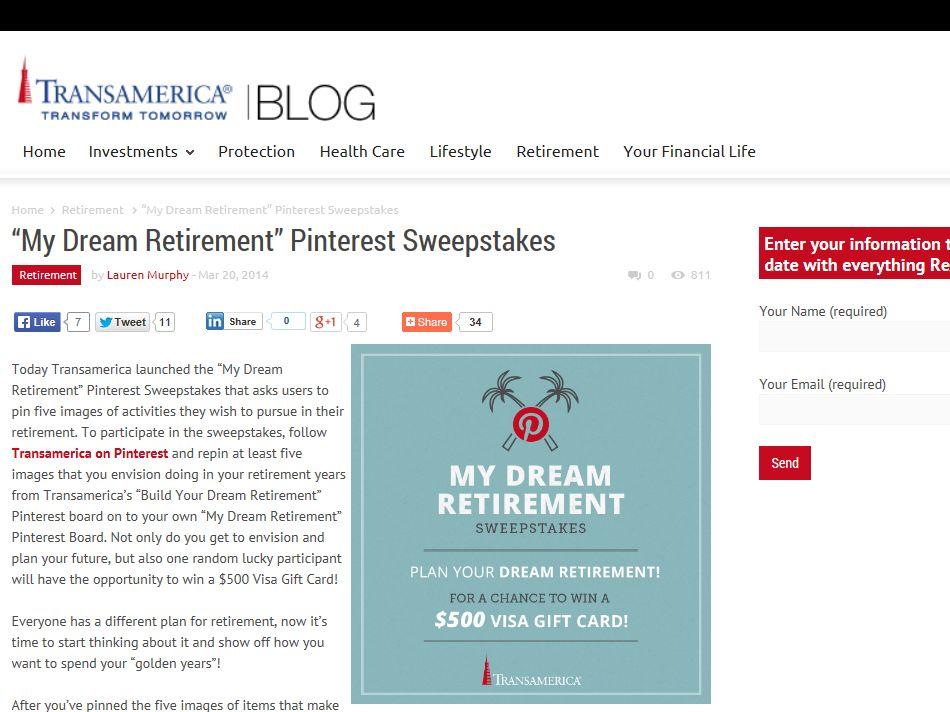 "Transamerica's ""My Dream Retirement"" Pinterest Sweepstakes"