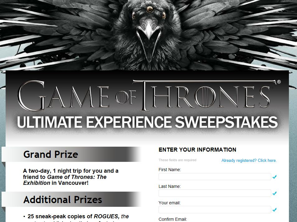 Game of Thrones Ultimate Experience Sweepstakes