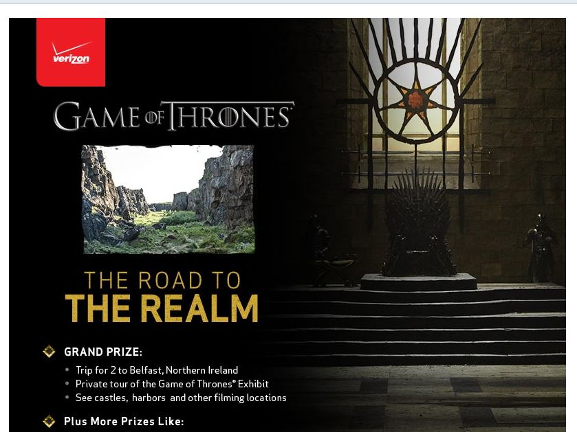 """Verizon """"The Road to the Realm"""" Sweepstakes"""