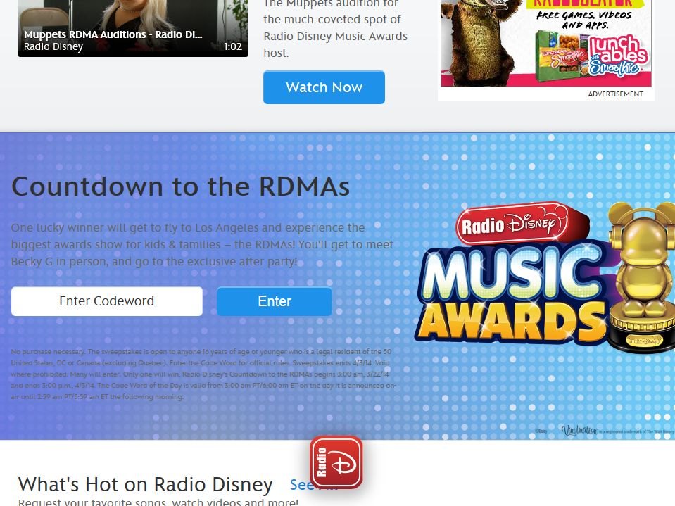 RadioDisney Countdown to the RDMAs Sweepstakes – Code Required