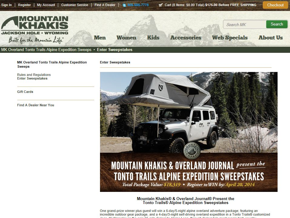 2014 Mountain Khakis & Overland Journal Tonto Trails Alpine Expedition Sweepstakes