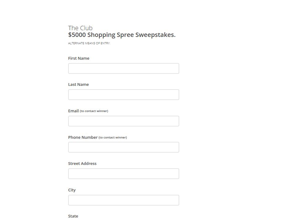 The Club's $5,000 Shopping Spree Sweepstakes