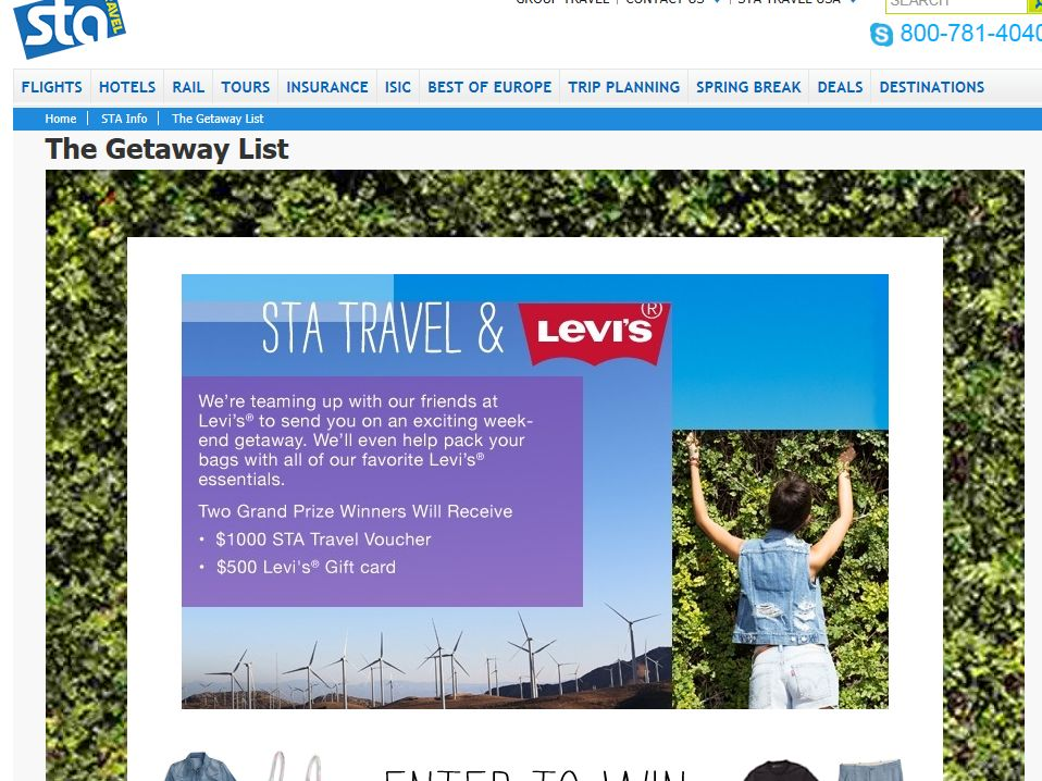 STA Travel's Getaway List Sweepstakes