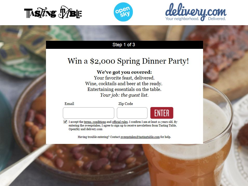 Tasting Table Set Your Table 2014 Sweepstakes