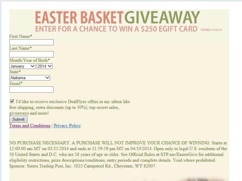 Sierra Trading Post Easter Basket Sweepstakes