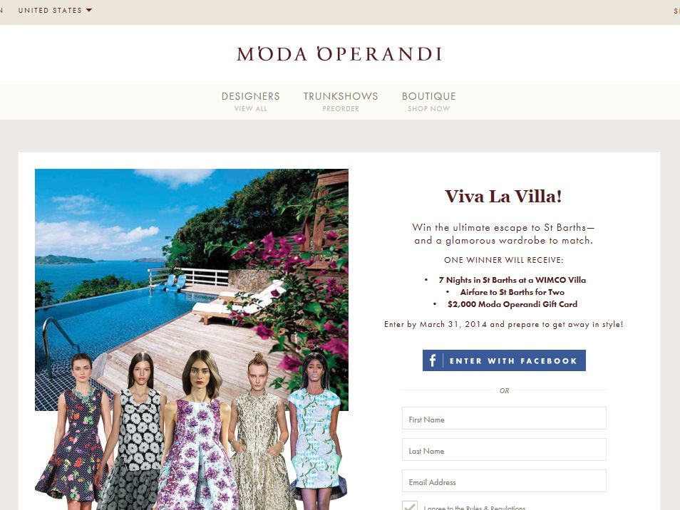 Moda Operandi Ultimate Getaway in St Barths Sweepstakes