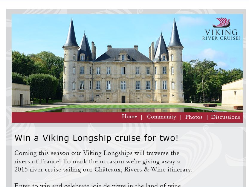 "Viking River Cruises 2015 ""Châteaux, Rivers & Wine"" river cruise trip Sweepstakes"