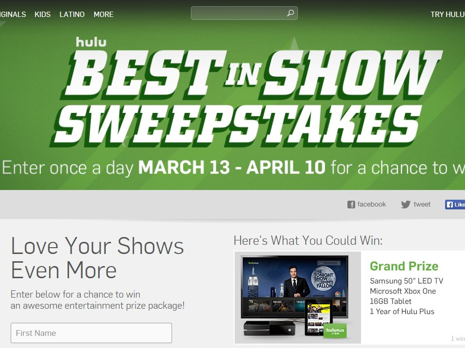 """Hulu """"Best in Show"""" Sweepstakes"""