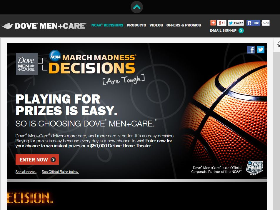 Dove Men+Care NCAA March Madness Decisions Sweepstakes
