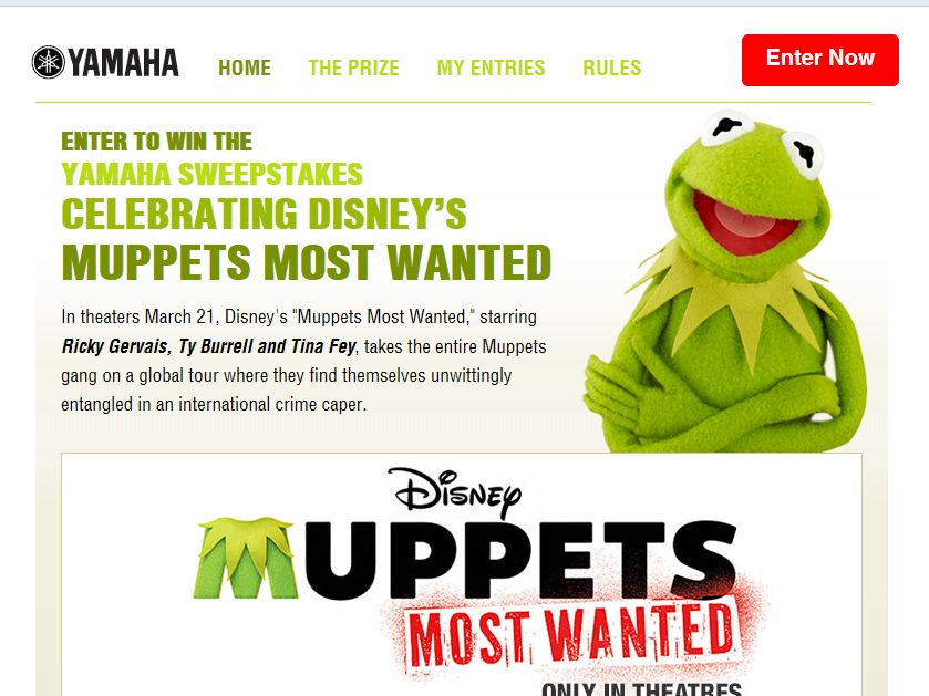 YAMAHA Celebrating Disney's Muppets Most Wanted Sweepstakes