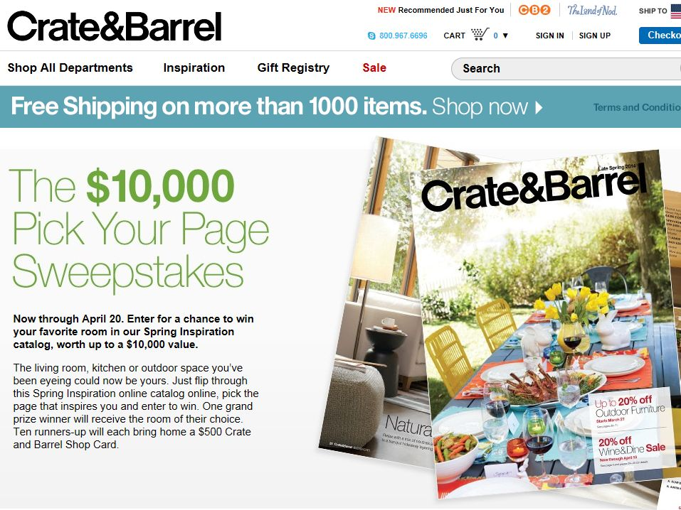 The Crate and Barrel $10,000 Pick Your Page Sweepstakes
