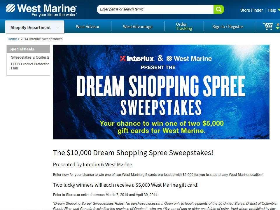 "West Marine ""Dream Shopping Spree"" Sweepstakes"