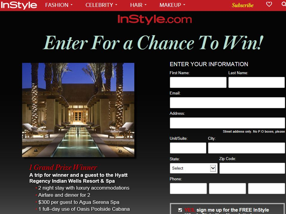 The InStyle.com Luxury Spa Sweepstakes