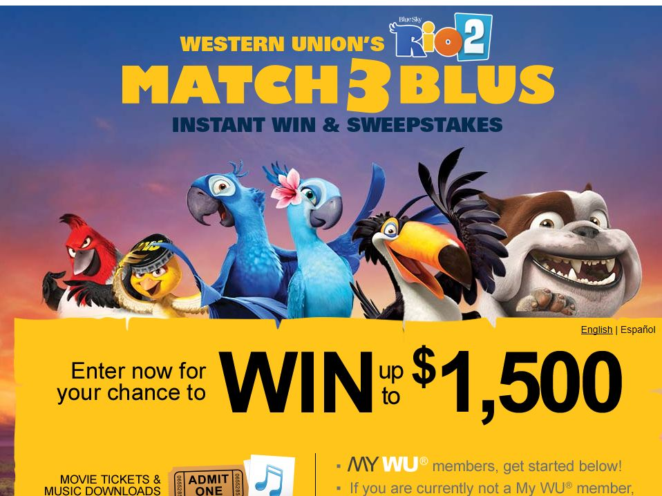 Western Union's Match 3 Blus Instant Win & Sweepstakes