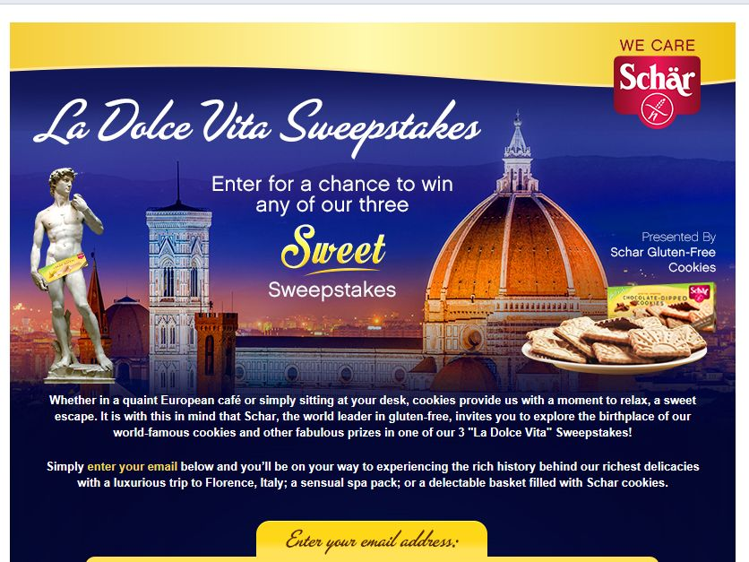 "Dr. Schar's ""La Dolce Vita"" Trip to Italy Sweepstakes"
