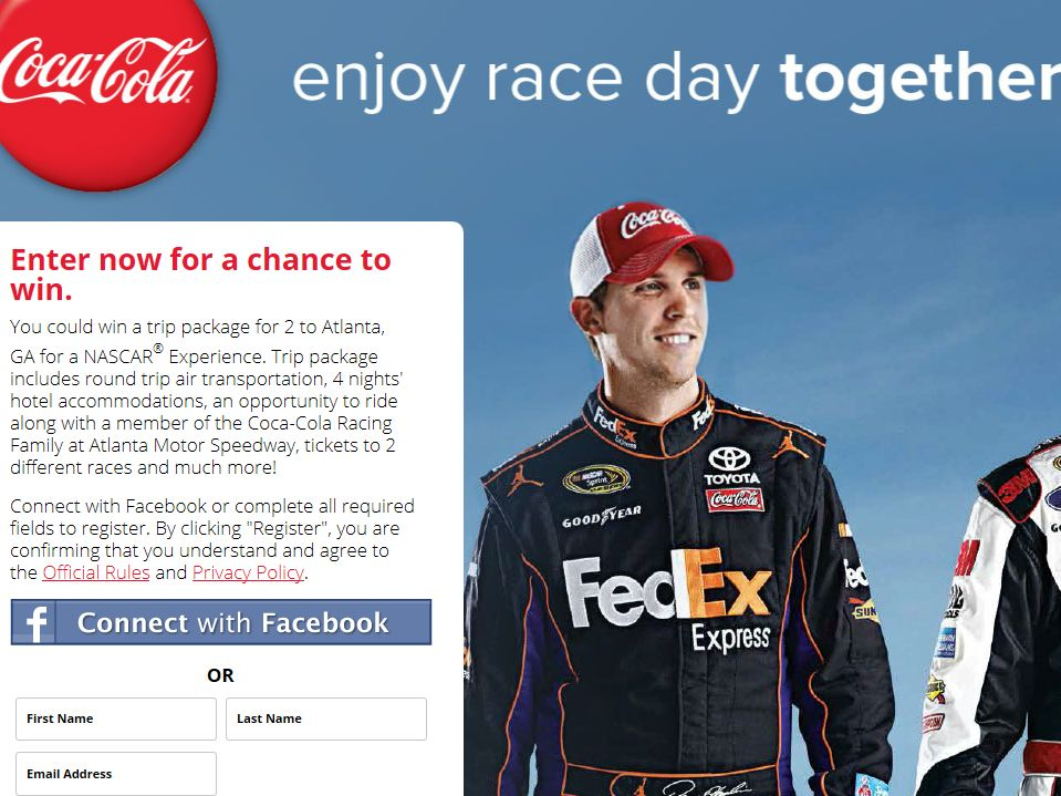 Pantry/Coca-Cola/NASCAR Ride Along Text to Win Sweepstakes