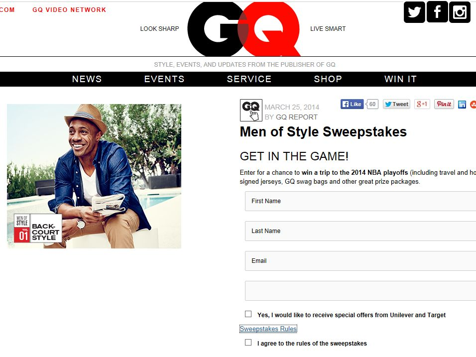 GQ Men of Style Sweepstakes