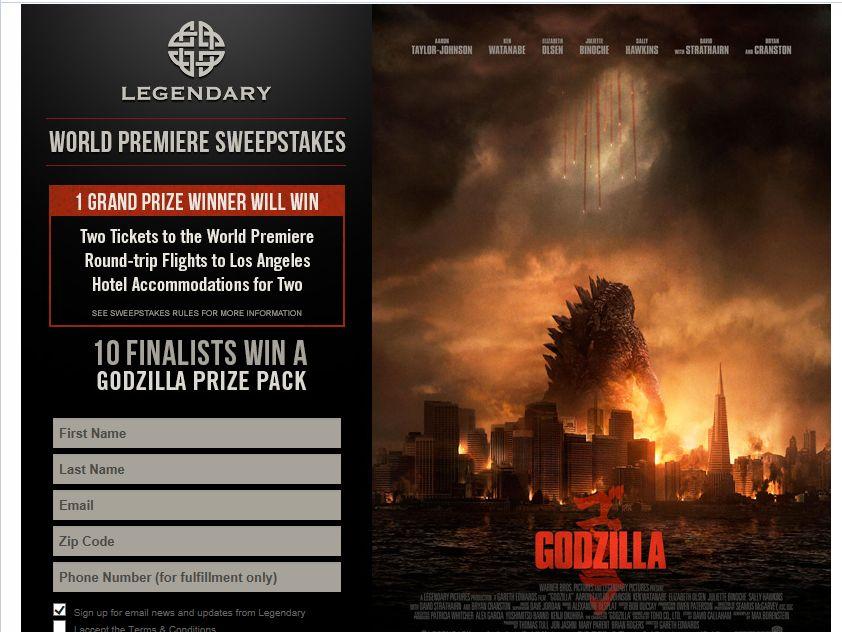 Godzilla Premiere Fan Sweepstakes