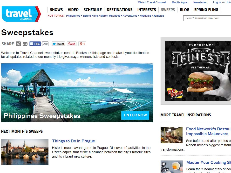 Travel Channel April 2014 Sweepstakes