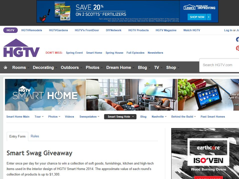 HGTV Smart Swag Giveaway