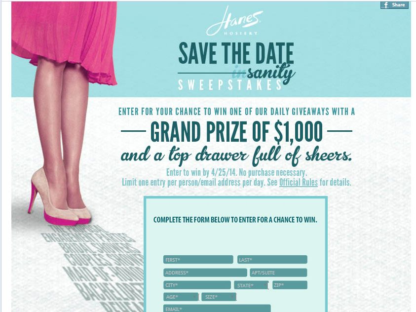 Hanes Hosiery Save-the-Date Sanity Sweepstakes