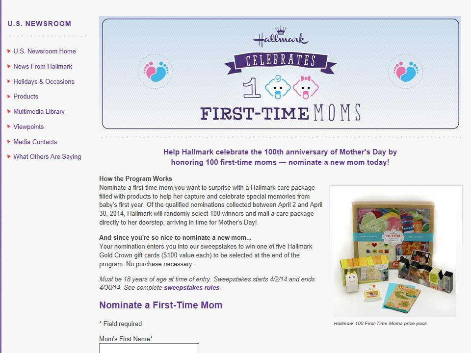 """Hallmark """"100 First-Time Moms"""" Sweepstakes"""