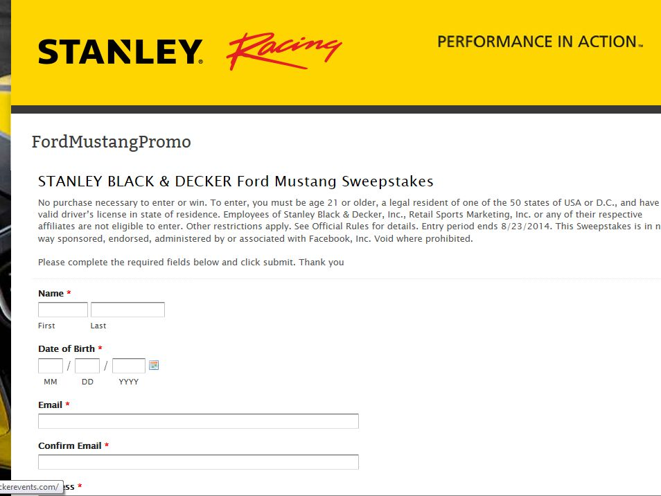 Stanley Black & Decker 2015 Ford Mustang Sweepstakes
