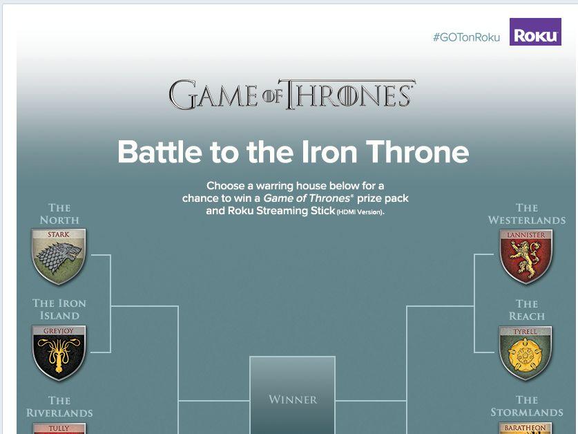 Roku Battle to the Iron Throne Sweepstakes
