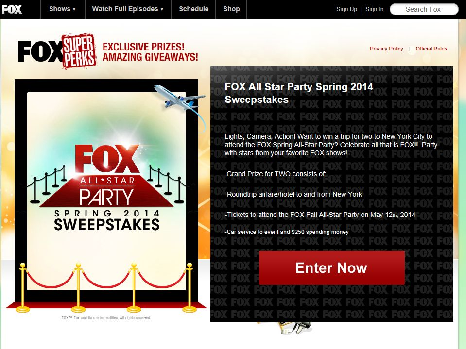 FOX All-Star Party Spring 2014 Sweepstakes