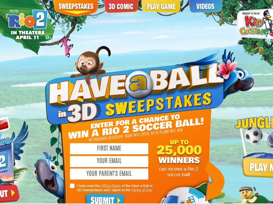 Kid Cuisine Have a Ball in 3D Sweepstakes