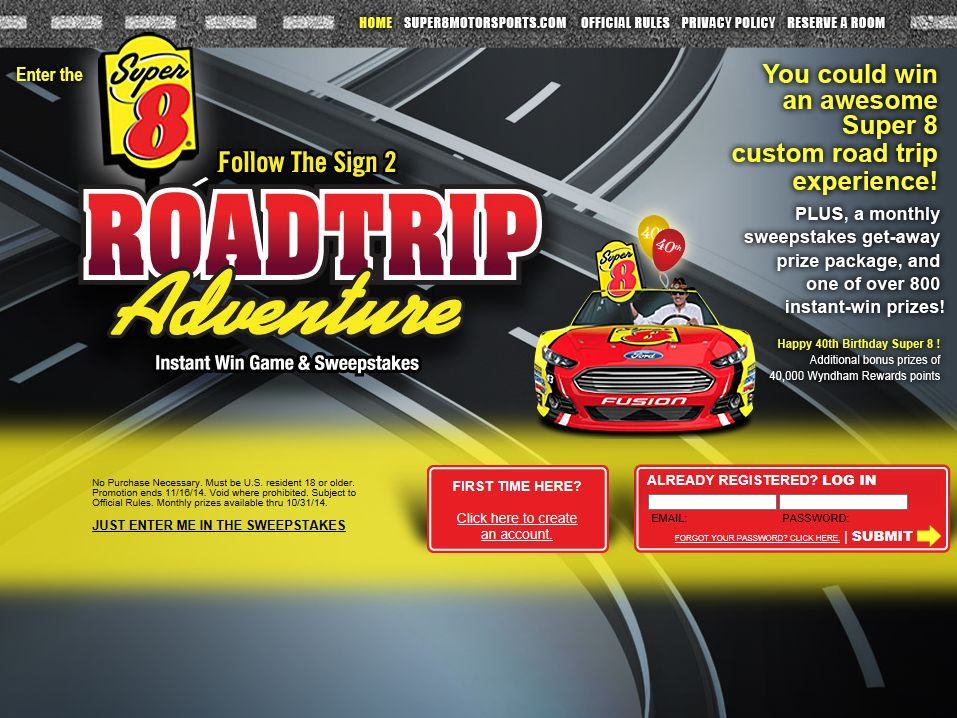 The Super 8 Follow The Sign 2: Road Trip Adventure Sweepstakes