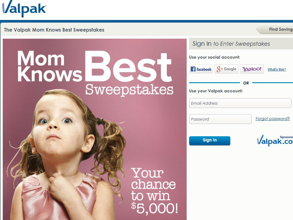 Valpak Mom Knows Best Sweepstakes