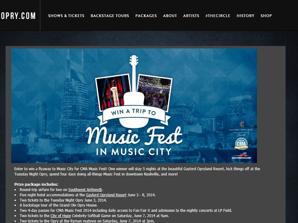 Opry.com The Music Fest In Music City Sweepstakes