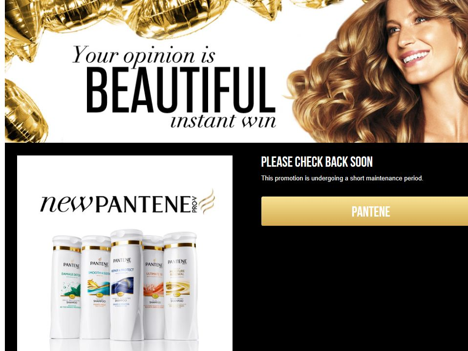 Pantene Your Opinion Is Beautiful Instant Win Game