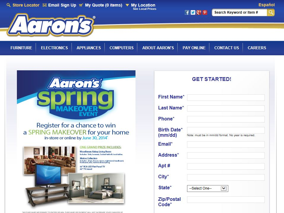 """Aaron's """"Spring Makeover"""" Sweepstakes"""