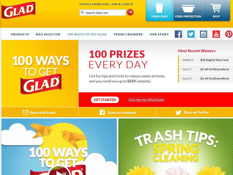 Glad 100 Ways to Get Glad Sweepstakes