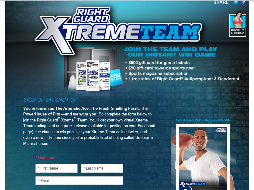 Right Guard Xtreme Team Instant Win Game