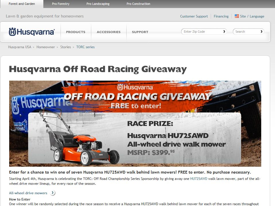 "Husqvarna Professional Products Inc.'s ""Off Road Racing Giveaway"" Contest"