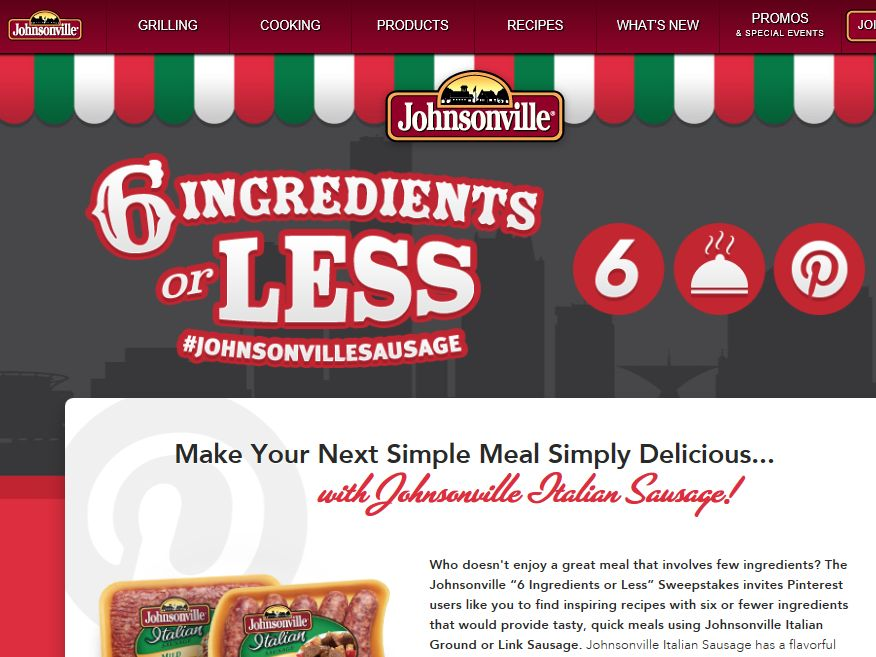 """Johnsonville Sausage """"6 Ingredients or Less"""" Sweepstakes"""