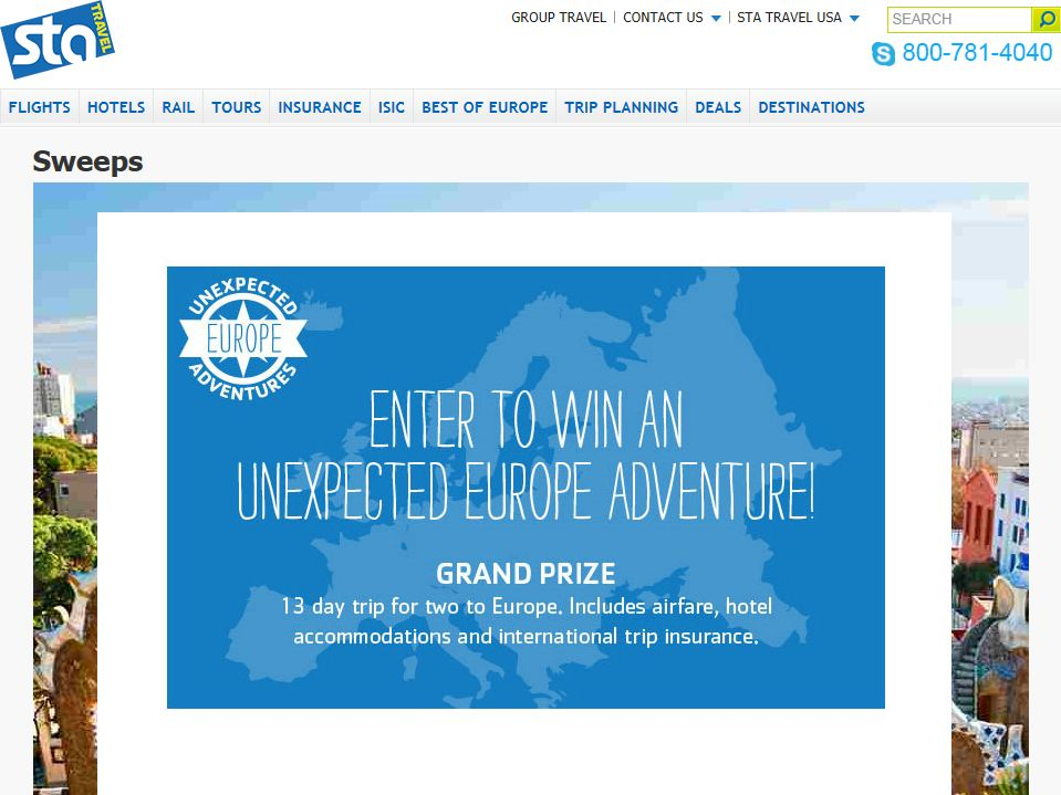 STA Travel's Unexpected Europe Sweepstakes