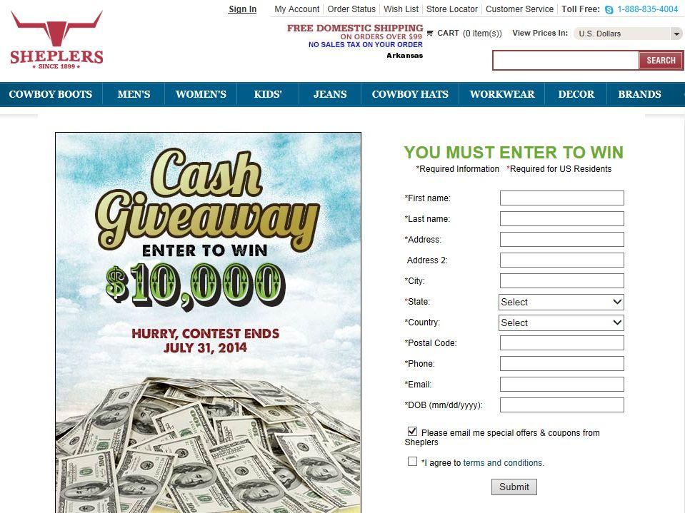 Sheplers $10,000 Cash Giveaway