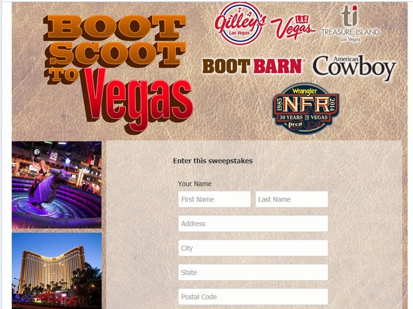 "NFR ""Boot Scoot to Vegas"" Sweepstakes"