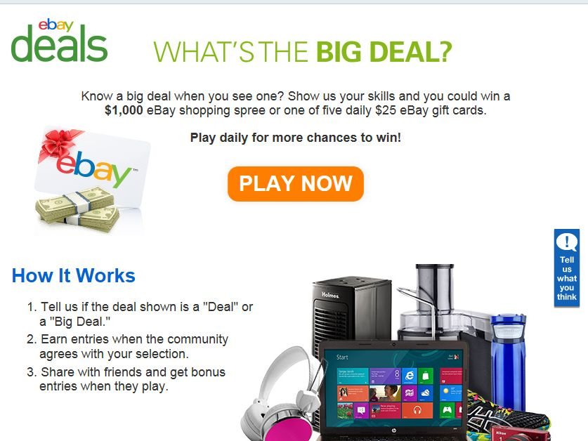 "eBay ""What's the Big Deal Game"" Sweepstakes"