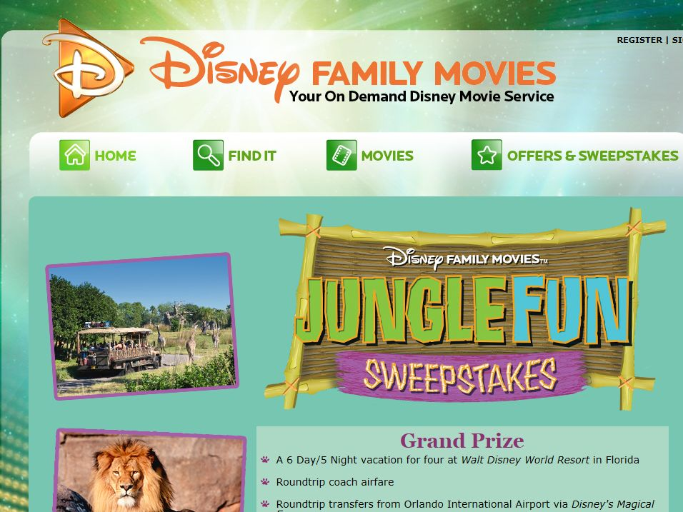 Disney Family Movies' Jungle Fun Sweepstakes
