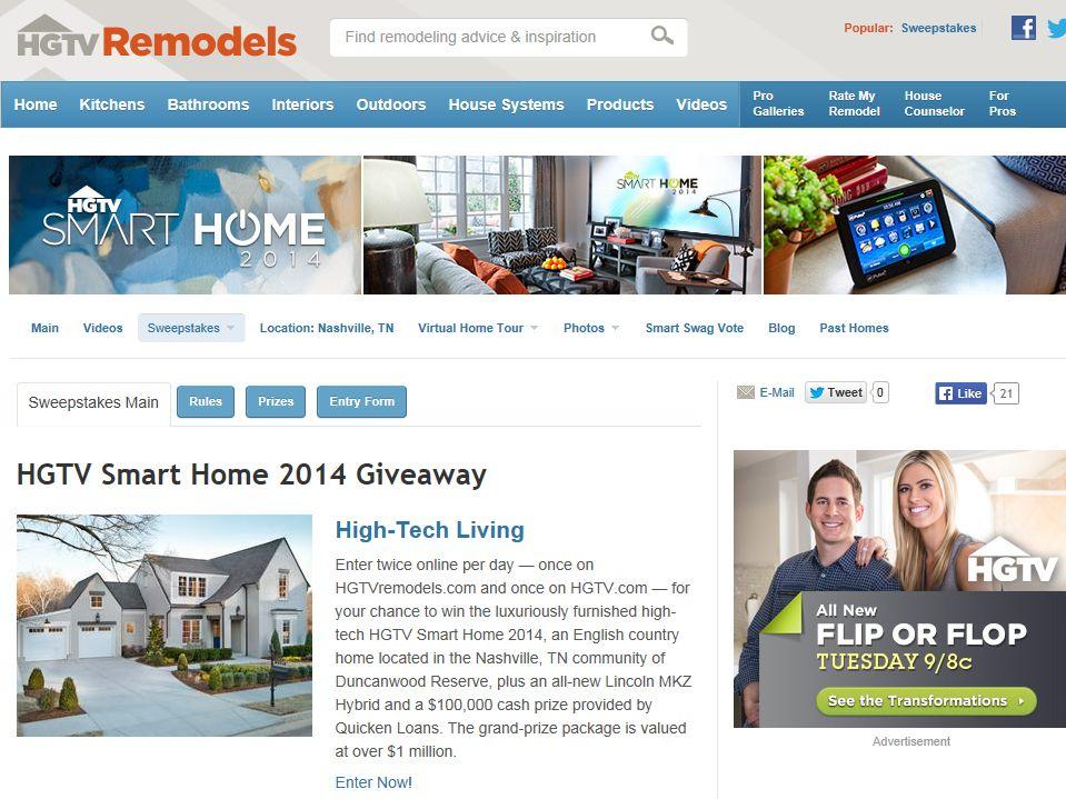 HGTV Smart Home 2014 Giveaway