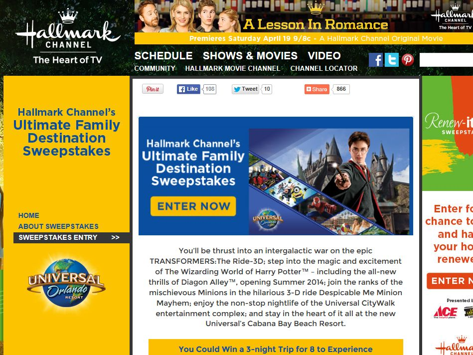 Hallmark Channel The Ultimate Family Destination Sweepstakes