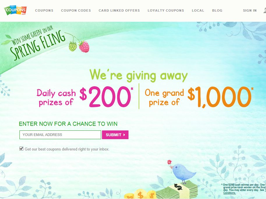 Coupons.com's Cash Sweepstakes