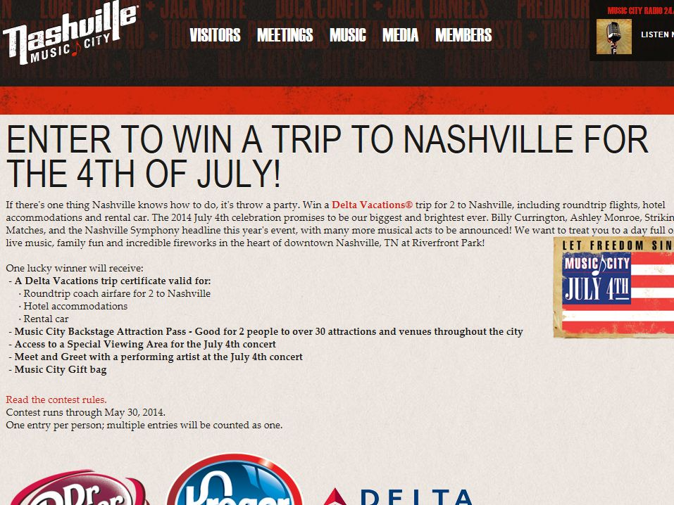 2014 July 4th Delta Vacations Trip to Music City Sweepstakes