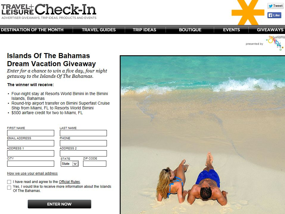 Travel & Leisure Islands of the Bahamas Dream Vacation Giveaway