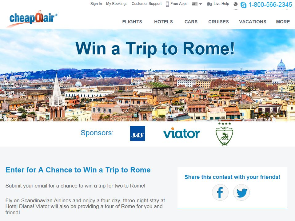 """CheapAir """"Win a Trip to Rome"""" Contest"""